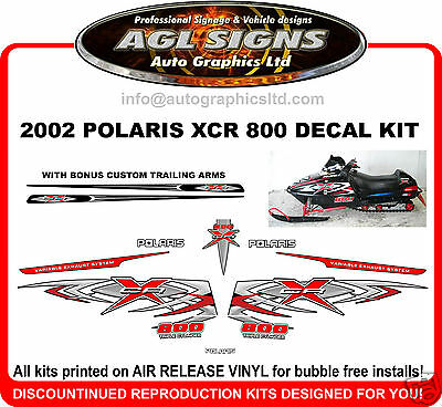 2002 POLARIS INDY XCR 800 HOOD DECALS , REPRODUCTIONS shroud  graphic