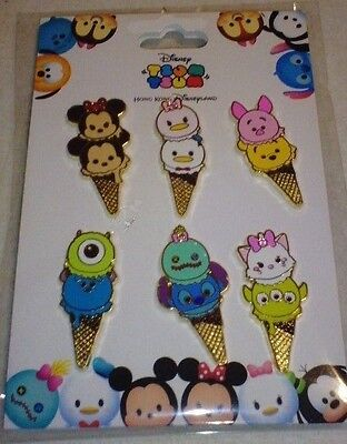 Disney pins HKDL Tsum Tsum Ice Cream Cone 6 pin Booster set.