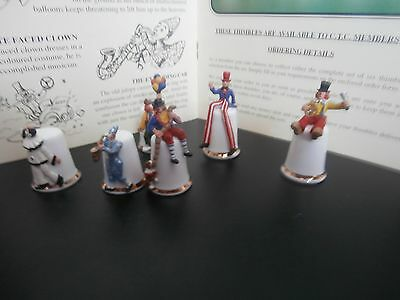 Thimbles  1994 Connoisseur ,s Club Bring On The Clowns Set Of Six As Listed Show