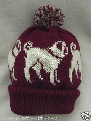 PUG CREAM dog NEW Knitted MAROON Adult size beanie pompom bobble HAT