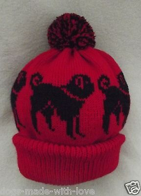 PUG BLACK dog NEW Knitted RED Adult size beanie pompom bobble HAT