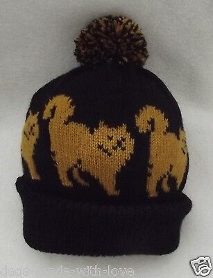 CAT Knitted BLACK beanie pompom bobble ADULT size HAT