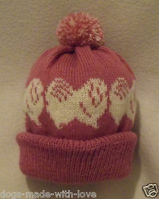 PEKINGESE CREAM dog NEW DUSKY PINK knitted beanie pompom bobble ADULT HAT