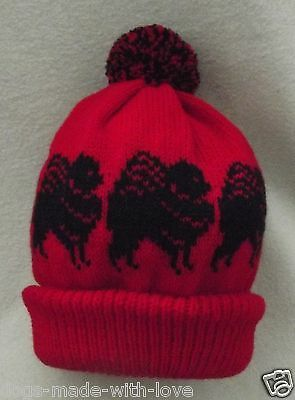 POMERANIAN BLACK dog NEW Knitted RED Adult size beanie pompom bobble HAT