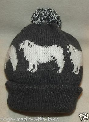 PYRENEAN MOUNTAIN dog PYRENEES NEW CHARCOAL Knitted beanie bobble ADULT HAT