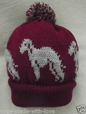 BEDLINGTON TERRIER dog NEW MAROON Knitted beanie pompom bobble ADULT size HAT