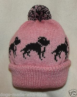 STAFFORDSHIRE BULL TERRIER BLACK dog NEW PINK Knitted beanie bobble ADULT HAT