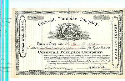 1881 Cornwall Turnpike Company Stock Certificate Pennsylvania
