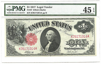 1917 $1 Large Size Legal Tender Note FR #37 PMG Choice Extremely Fine 45