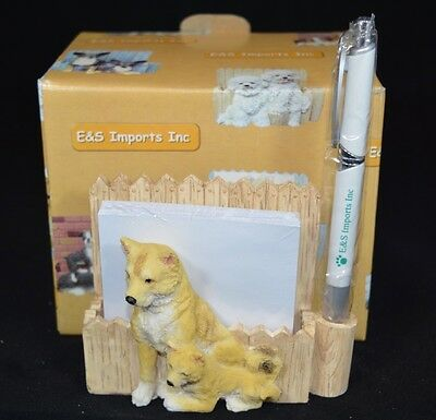 NEW E&S Imports SHIBA INU Magnetic Notepad Pen Holder w/Box 46480-68
