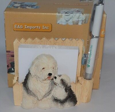 NEW E&S Imports OLD ENGLISH SHEEPDOG Magnetic Notepad and Pen Holder #46480-77
