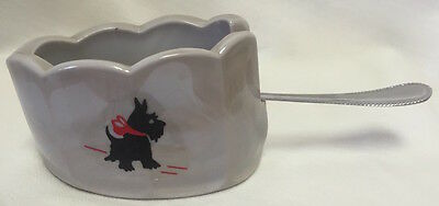 Smoked Granite Glass Old Mule Spoonholder w/Red Bow Scotty Scottie Dog
