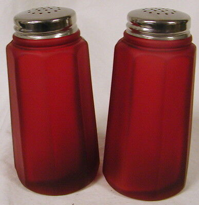 Ruby Satin Glass Paneled Salt & Pepper Shaker Set