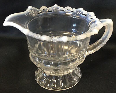 French Opalescent Glass Ring & Petal Pattern Creamer