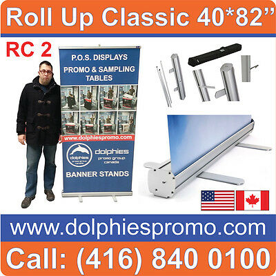 6 UNITS - Portable Retractable Roll Up Banner Stands Promo EXPO Displays 40*80""
