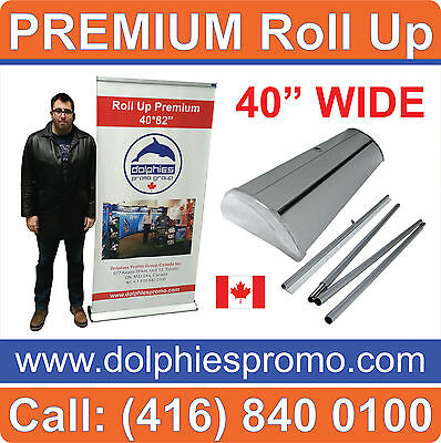 """40"""" Wide PREMIUM QUALITY Retractable Roll Up Trade Show Banner Stand + GRAPHICS"""