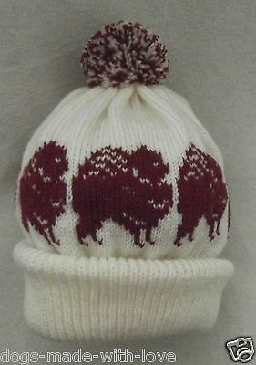POMERANIAN RED dog NEW Knitted CREAM Adult size beanie pompom bobble HAT