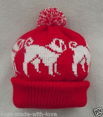 PUG CREAM dog NEW Knitted RED Adult size beanie pompom bobble HAT