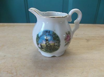 Vintage Small White Ceramic Creamer Advertising Iowa Hawkeye State Capitol