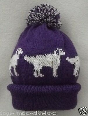 ENGLISH SETTER dog NEW Knitted PURPLE Adult size beanie pompom bobble HAT