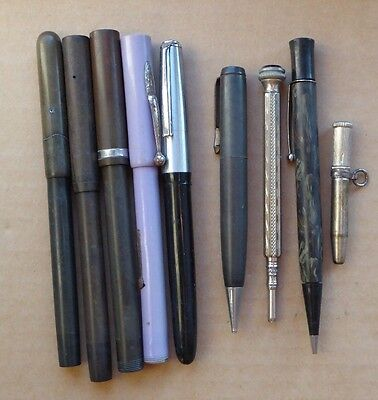 Job lot of fountain pens and pencils, Swan Mabie Todd made in USA during war.