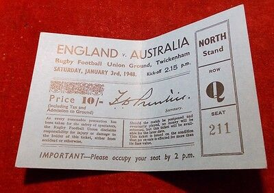 1948 Rugby Ticket. England V Australia. Twickenham - 3Rd January 1948.