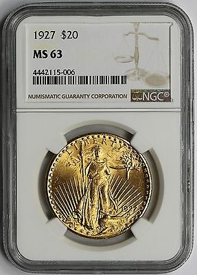 1927 Saint Gaudens Double Eagle Gold $20 MS 63 NGC