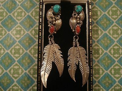 Beautiful Native American,Red Coral & Turquoise Set Sterling Silver Earrings