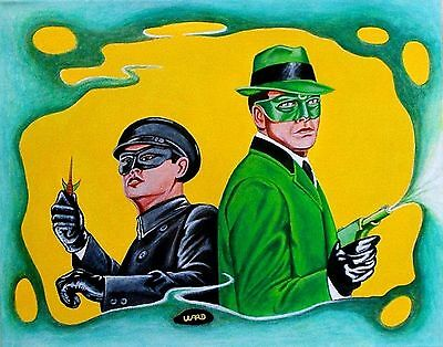 Aceo Original Art Print 'green Hornet And Kato ' Signed By Artist