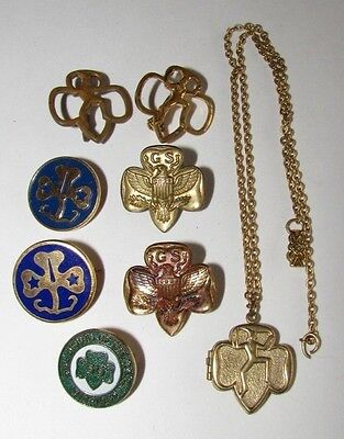 Lot Vtg Girl Scout Pins Photo Locket Necklace