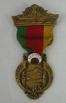 Imperial Council 1915 Visitors Committee Seattle Washington Medal Enamel Masonic