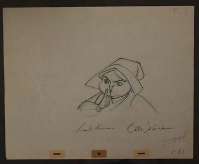 1959 MERRYWEATHER Sleeping Beauty Original Production Drawing 2 SIGNED Art OPD