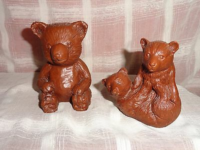 lot of 2 Teddy Bear Cubs  Figurine Red Mill Manufacturing Crushed Pecan Shells