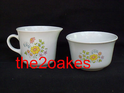 Corelle MEADOW Sugar Bowl Cream Pitcher Creamer Set Spring Corning Packet Holder