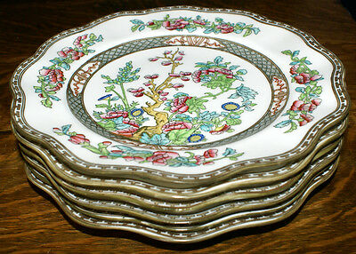 Coalport Indian Tree Bone China  SIX Multi-Colored Scalloped Dinner Plates 10.5""
