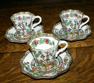 Coalport Indian Tree Bone China * 3 Demitasse Cups and Saucers