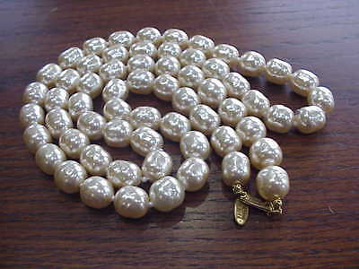 """Vintage Miriam Haskell Signed Baroque Pearl Necklace 35"""" Long"""