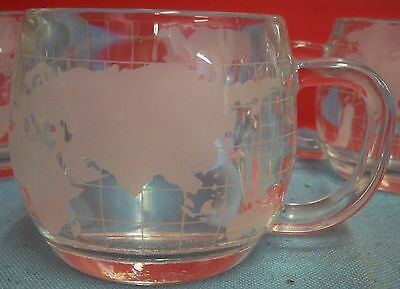 Set 4 Nestle Hot Chocolate Glass Globe World Map Mugs Cups Etched Frosted Cocoa