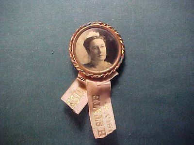 Vintage State  Pin Back Button with Lady's Picture and Partial Ribbon