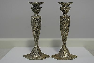 "Pair 2 Antique E & JB Silver Plate 12"" Windmill Candlestick Holders"