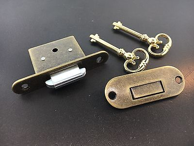 Roll-top Desk lock with self closing strike hardware in Antique Finish