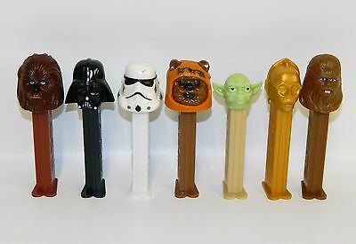 Lot of 7 Star Wars Pez Dispensers Wicket Darth Vader Yoda C-3PO Chewbacca & More