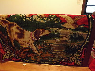 Wool 49X68 inch antique Horse carriage blanket Dog Duck
