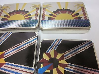 Lot Litho Vtg Nesting Stacking Pocket Art Deco Tins England Palm Tree Zig Floral