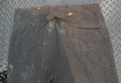LATE 1800's DESTROYED BUCKLE BACK BUTTON FLY FARM WORK WORKWEAR TROUSERS 31X31