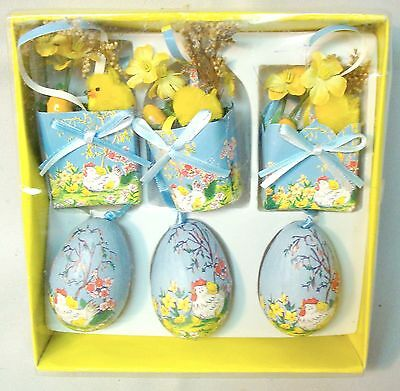 Boxed Set 6 Easter Decorations Paper Baskets & Eggs, Chenille Chicks Retro Style