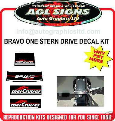 Mercury Bravo One Outdrive Decal Kit   Mercruiser reproductions
