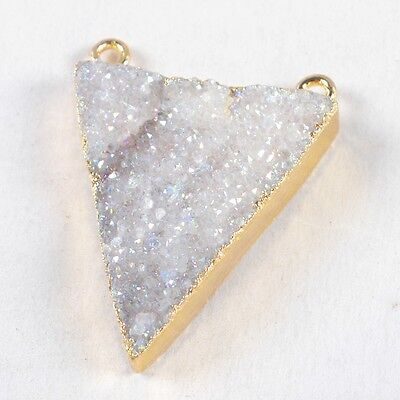 Triangle Natural Agate Druzy Titanium AB Connector Gold Plated H85680