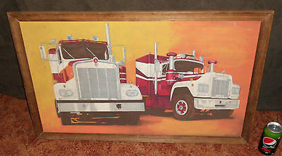 1970's VINTAGE SEMI TRAILER TRUCK KENWORTH MACK WALL PICTURE PAINTING BAR SIGN