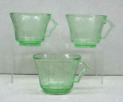 3 Hazel Atlas Green Depression Glass Florentine #2 cups Poppy